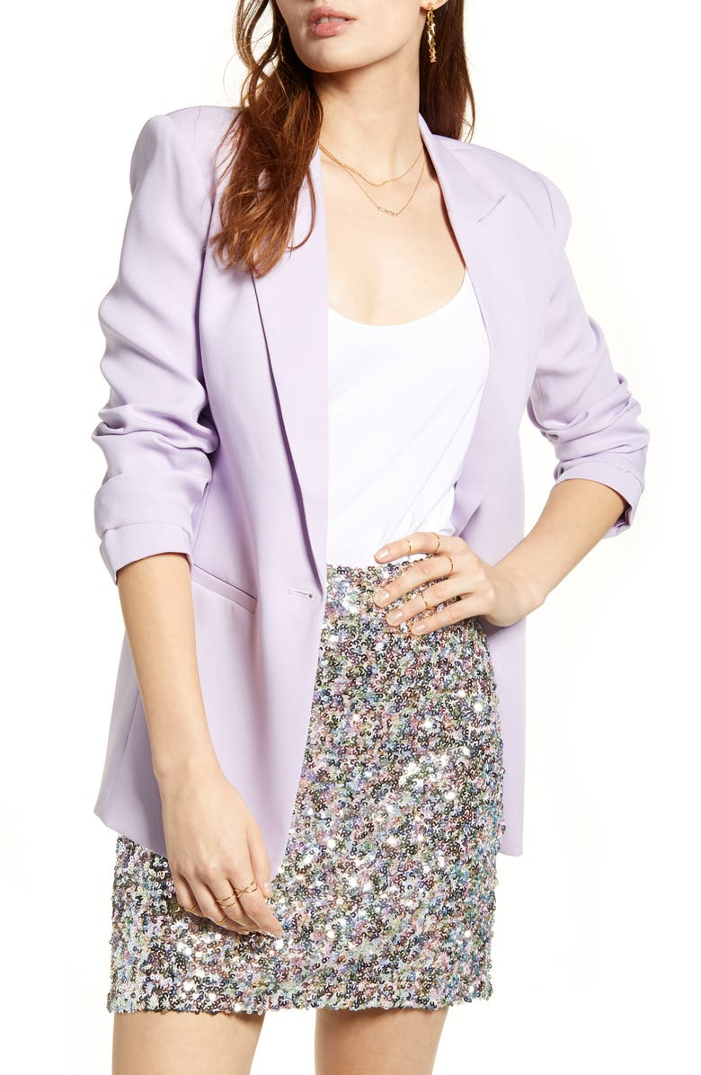 ENDLESS ROSE Tailored Single Button Blazer, Main, color, LILAC