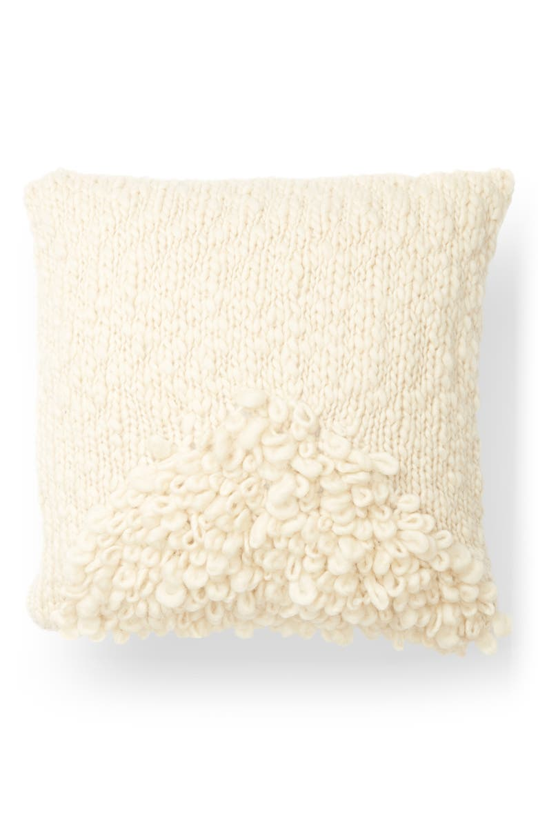 MINNA Moon Wool Shag Accent Pillow, Main, color, 100