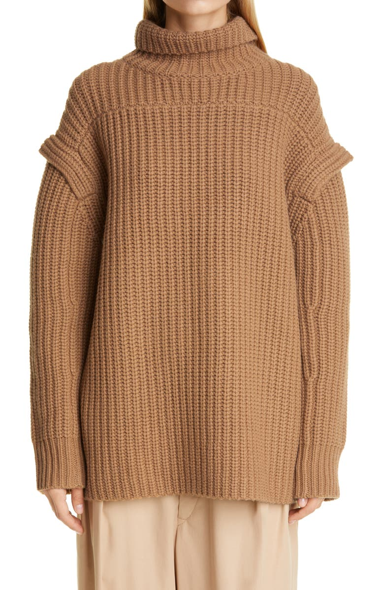 LOULOU STUDIO Layered Sleeve Wool & Cashmere Turtleneck Sweater, Main, color, CAMEL