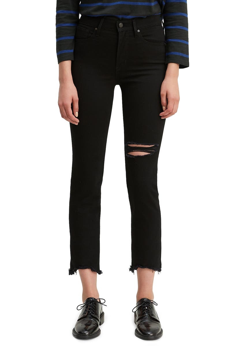 LEVI'S<SUP>®</SUP> Ripped High Rise Straight Leg Crop Raw Hem Jeans, Main, color, BLACK PIXEL