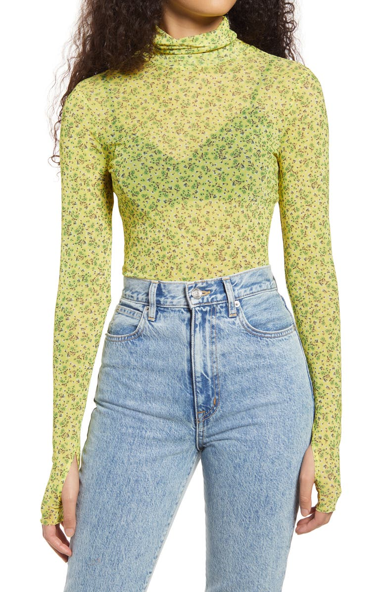 AFRM Zadie Semi Sheer Turtleneck, Main, color, BUTTERCUP DITSY
