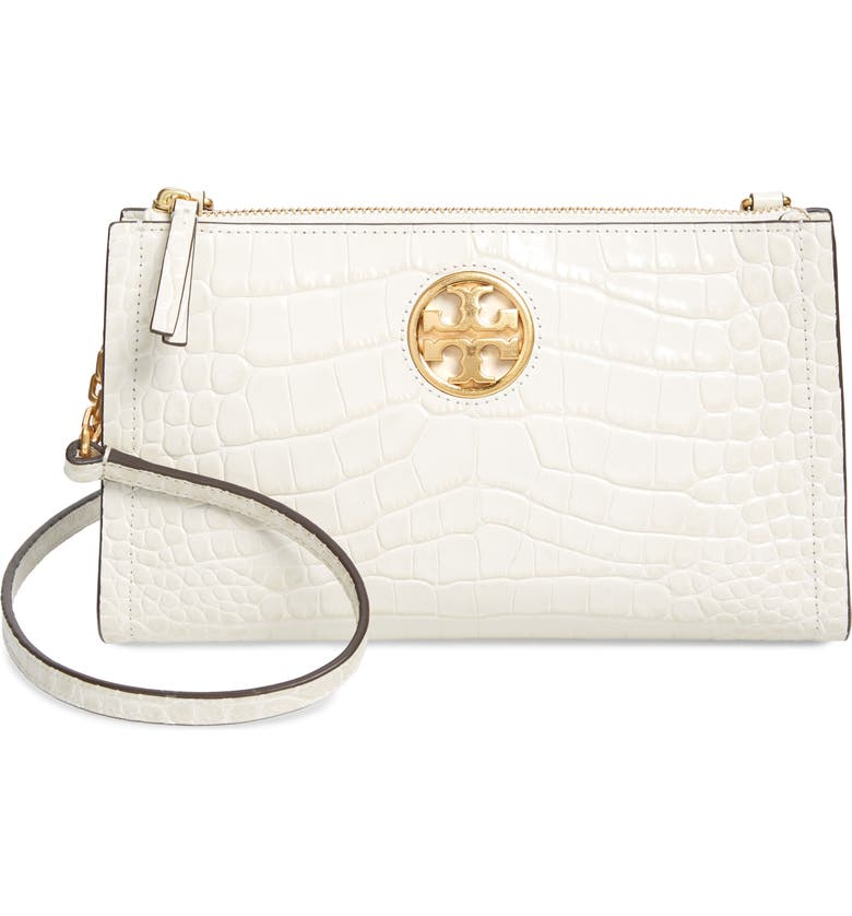 TORY BURCH Carson Croc Embossed Leather Crossbody Bag, Main, color, NEW IVORY