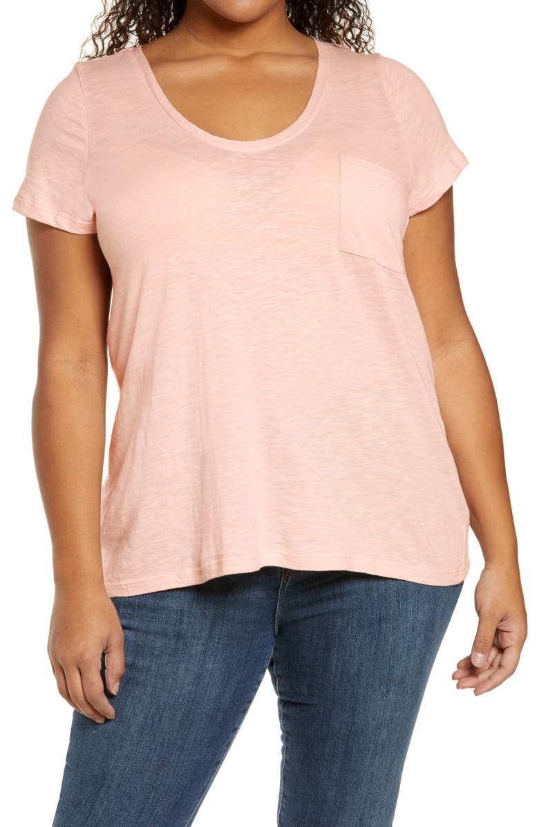 CASLON<SUP>®</SUP> Rounded V-Neck Tee, Main, color, PINK CHINTZ