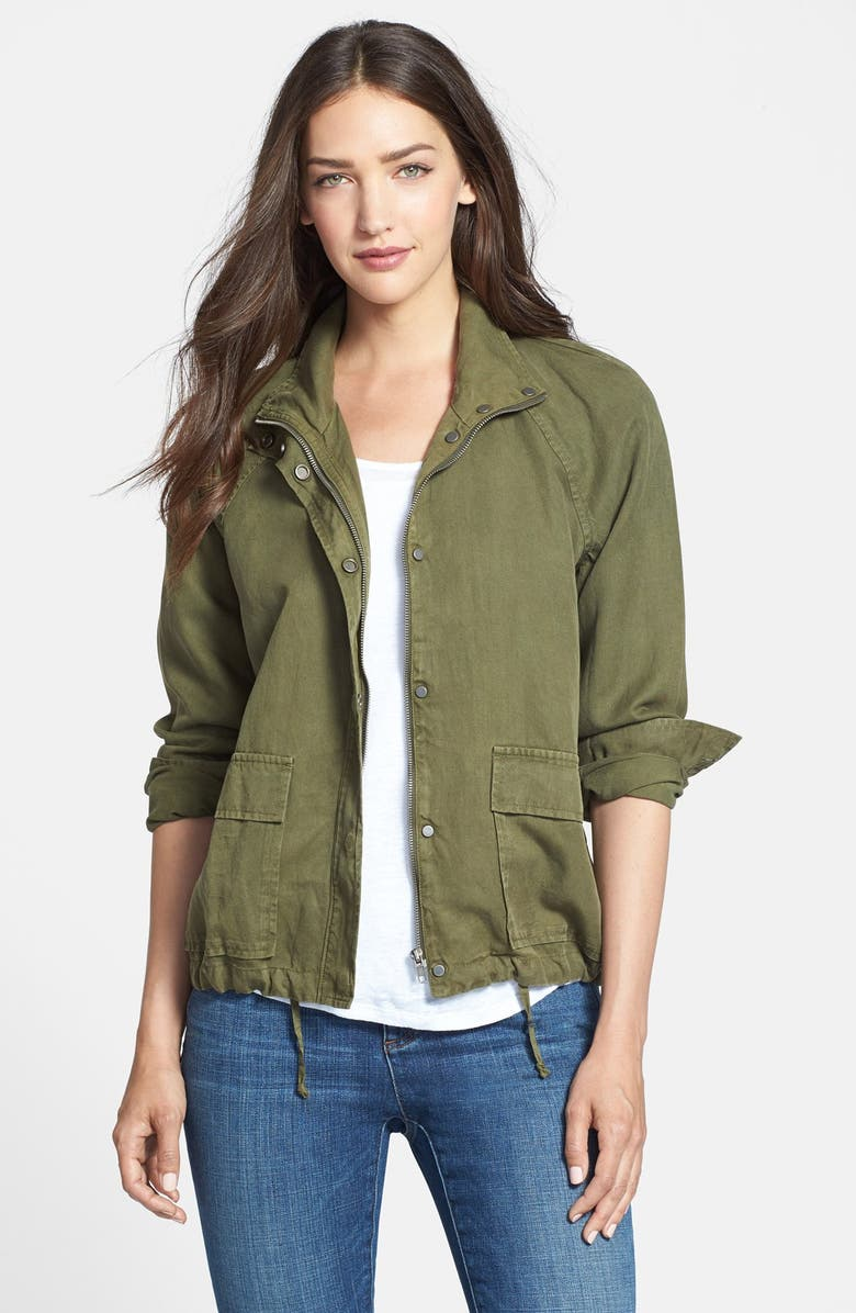 EILEEN FISHER Tencel<sup>®</sup> & Linen Bomber Jacket, Main, color, 301