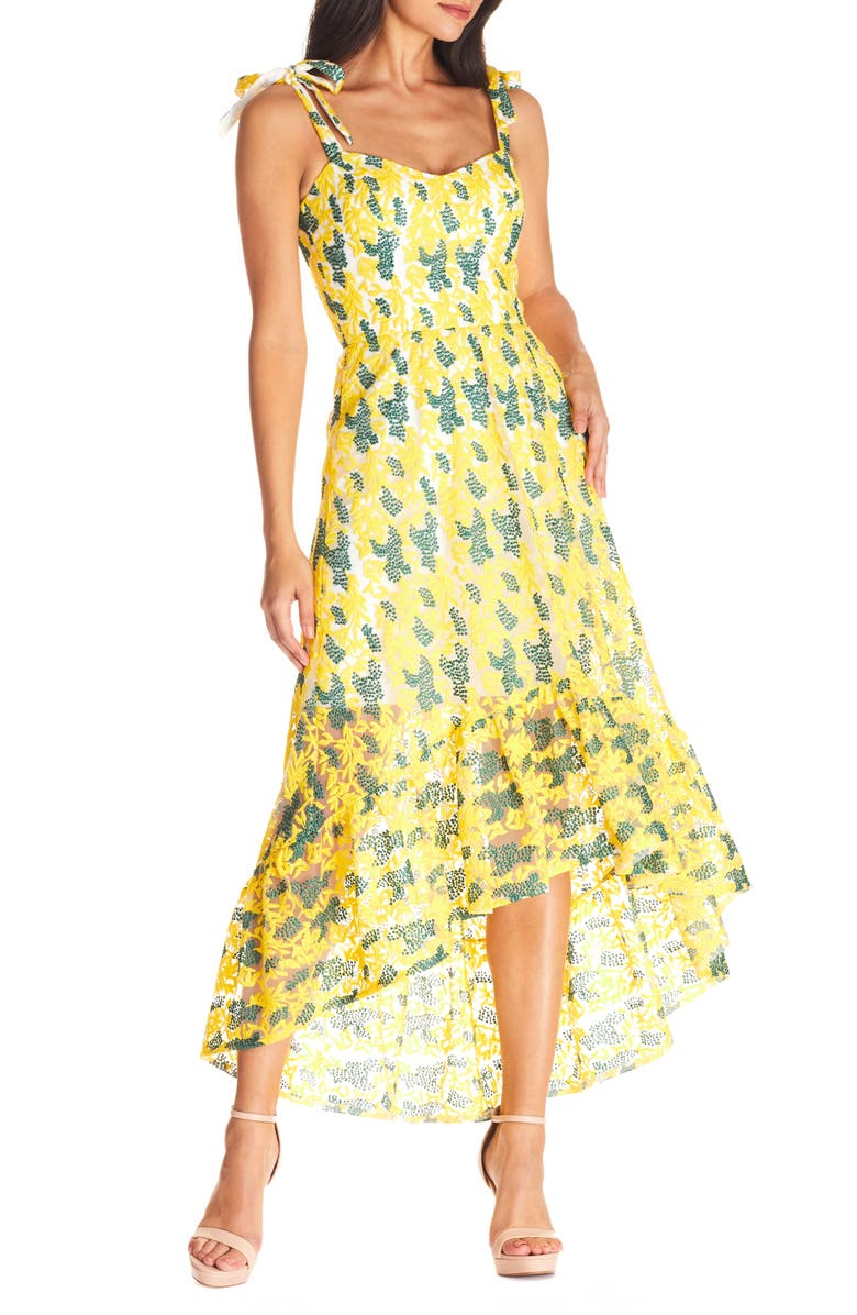 DRESS THE POPULATION Wren Tie Shoulder High/Low Cocktail Dress, Main, color, CANARY MULTI