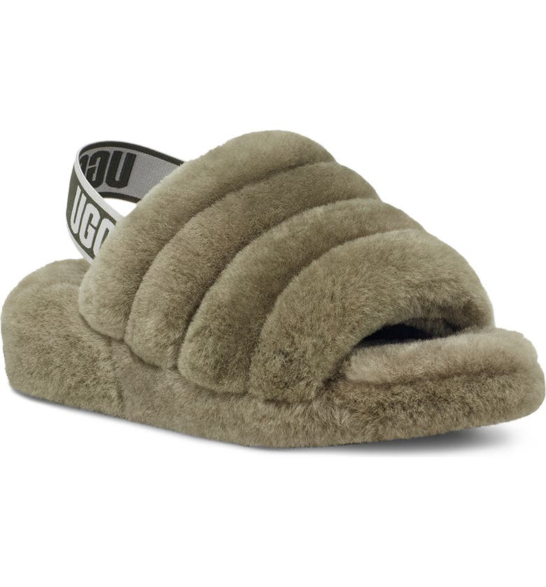 UGG<SUP>®</SUP> Fluff Yeah Genuine Shearling Slingback Sandal, Main, color, BURNT OLIVE
