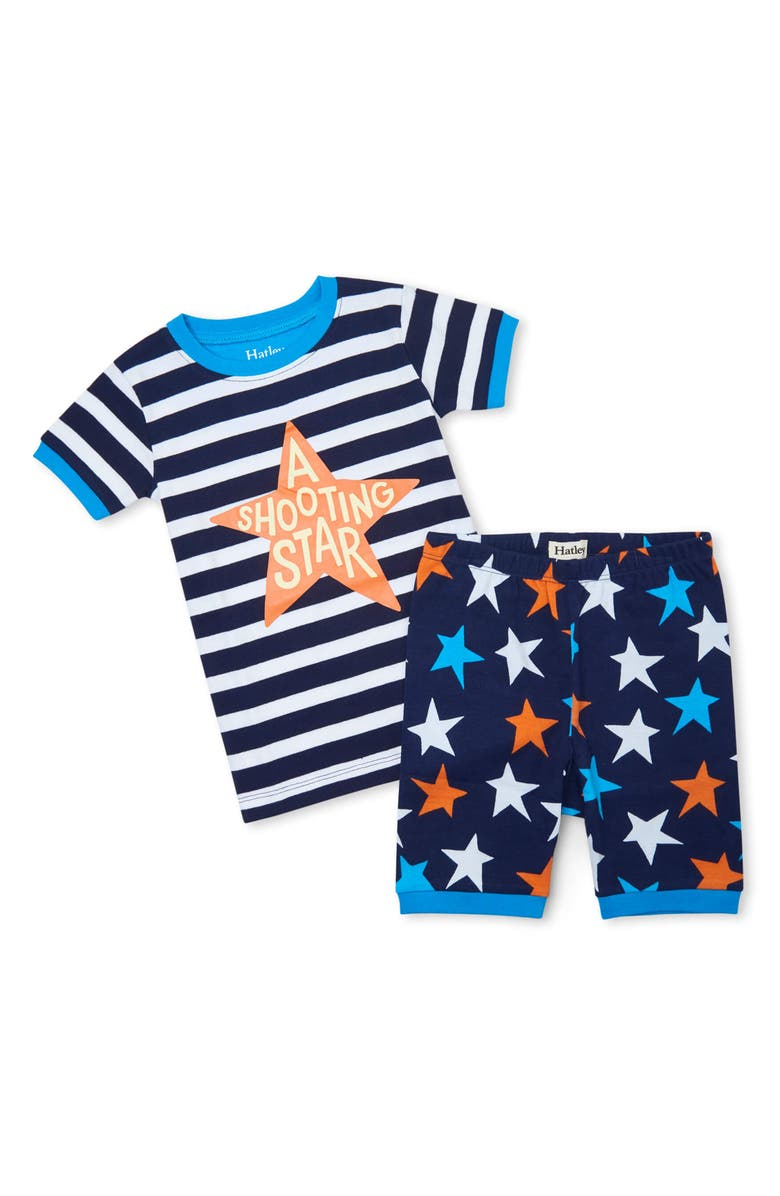 HATLEY Kids' Stars & Stripes Organic Cotton Fitted Two-Piece Pajamas, Main, color, Blue