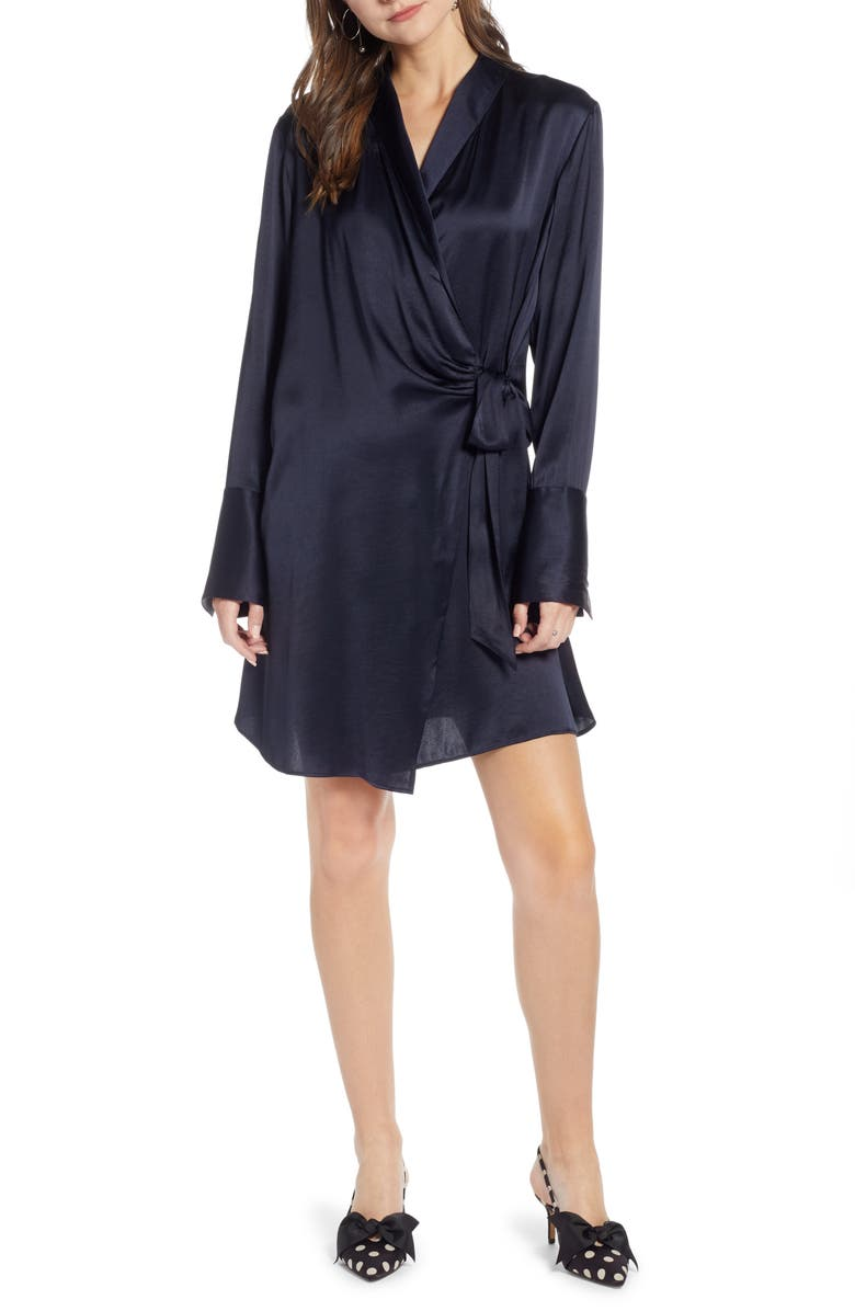 SOMETHING NAVY Tie Front Dress, Main, color, NAVY NIGHT