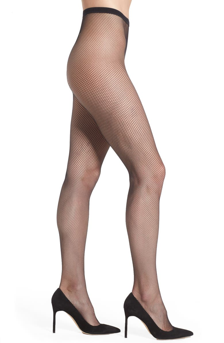OROBLU Tricot Fishnet Tights, Main, color, Black