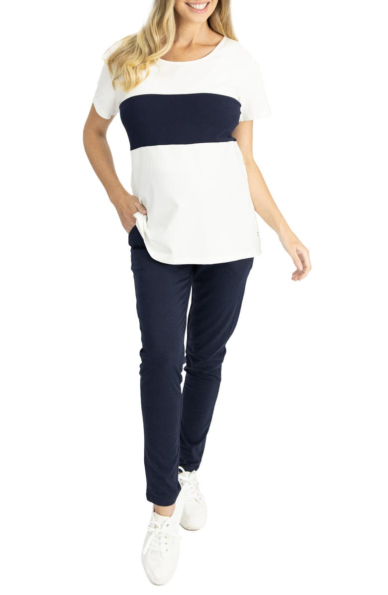 ANGEL MATERNITY Home to Street Maternity T-Shirt & Pants Set, Main, color, NAVY