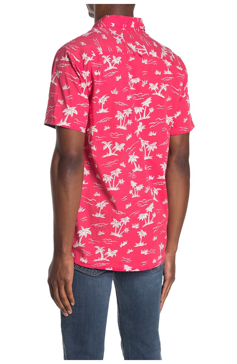 TRUNKS SURF AND SWIM CO Tropical Roll-Up Short Sleeve Shirt, Main, color, DEEP CORAL