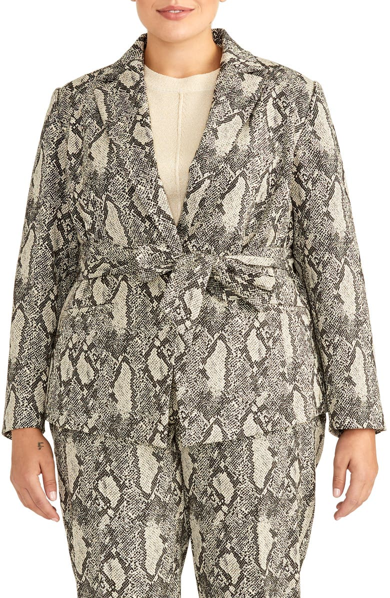 RACHEL ROY COLLECTION Snake Print Tie Waist Cotton Blend Jacket, Main, color, 061