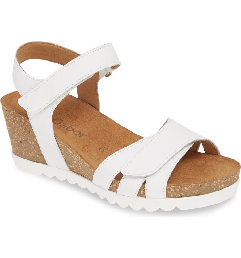 GABOR Wedge Sandal, Main, color, WHITE LEATHER