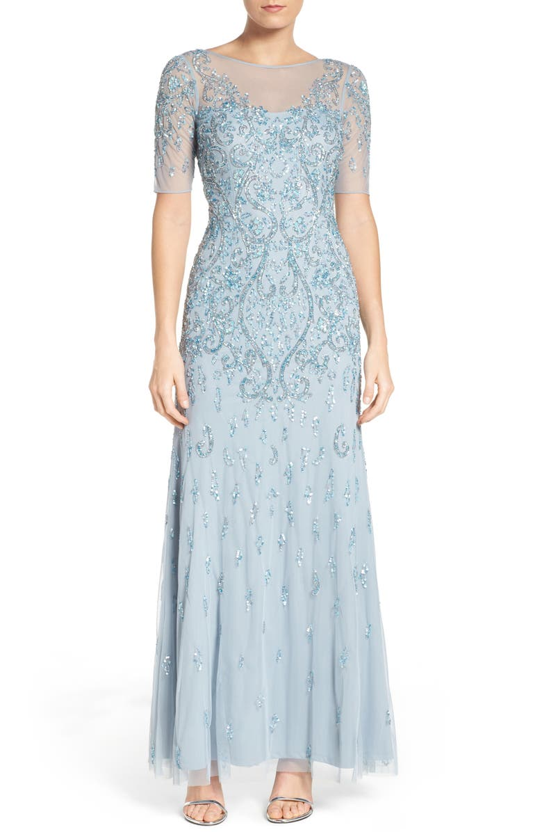 ADRIANNA PAPELL Embellished A-Line Gown, Main, color, BLUE HEATHER