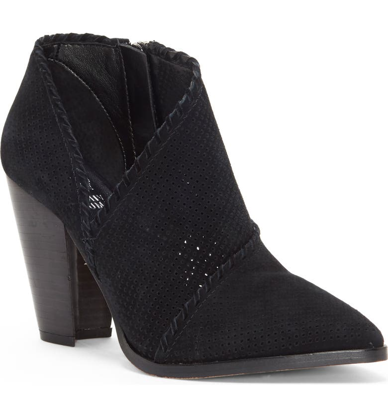 VINCE CAMUTO Lamorna Perforated Pointy Toe Bootie, Main, color, 001