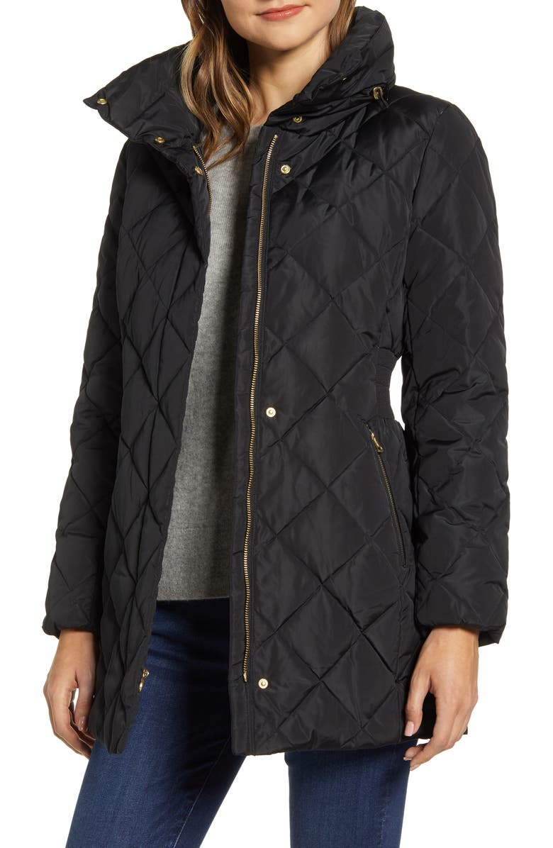 COLE HAAN SIGNATURE Quilted Down & Feather Coat, Main, color, 001