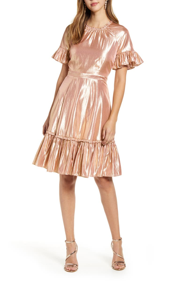 RACHEL PARCELL Metallic Swing Dress, Main, color, 660