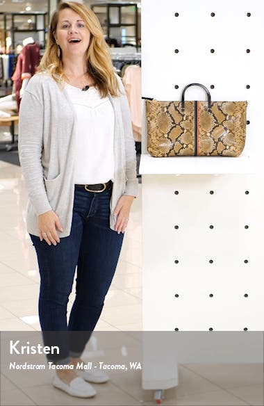 Attache Snake Embossed Goatskin Leather Tote, sales video thumbnail