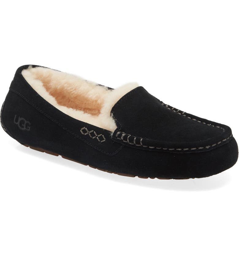 UGG<SUP>®</SUP> Ansley Water Resistant Slipper, Main, color, BLACK SUEDE
