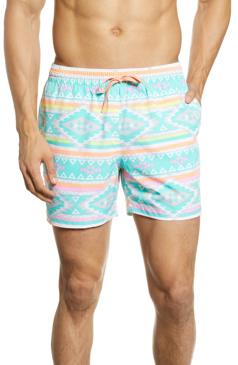 CHUBBIES The En Fuegos 5.5-Inch Swim Trunks, Main, color, TEAL