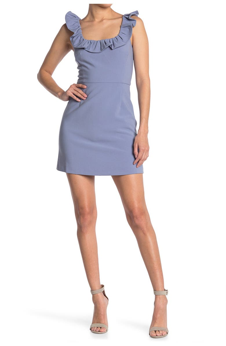 FRENCH CONNECTION Whisper Ruffle Minidress, Main, color, ANNABELLE BLUE