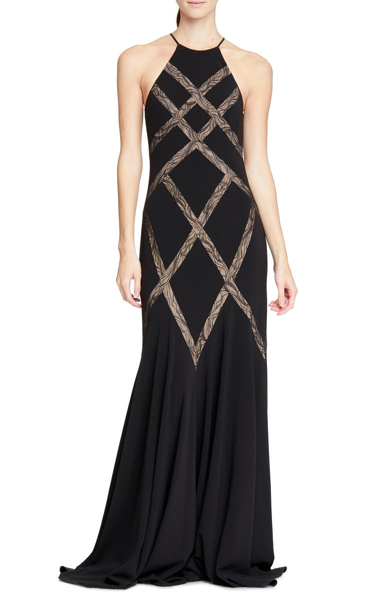 HALSTON HERITAGE Halson Heritage Lace Inset Gown, Main, color, 001