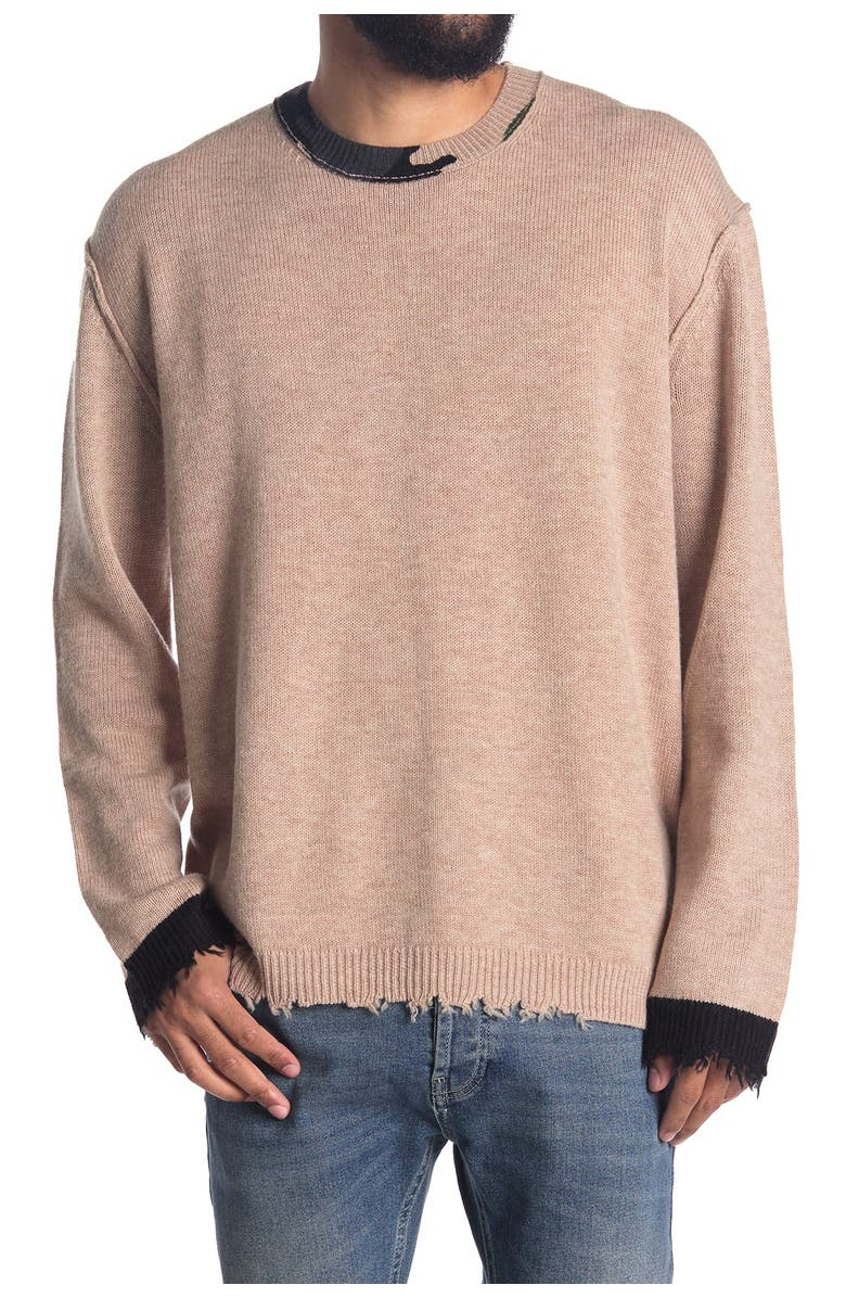 ZADIG AND VOLTAIRE Eddy Camo Print Collar Wool & Cashmere Blend Sweater, Main, color, SAND