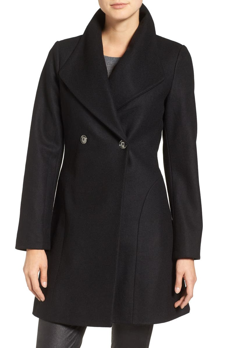 MICHAEL MICHAEL KORS Double Breasted Swing Coat, Main, color, 001