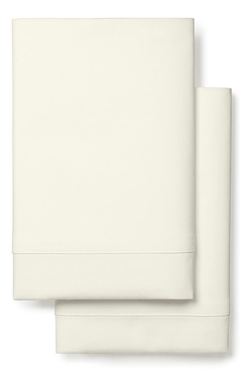 BOLL & BRANCH 360 Thread Count Set of 2 Organic Cotton Percale Pillowcases, Main, color, IVORY