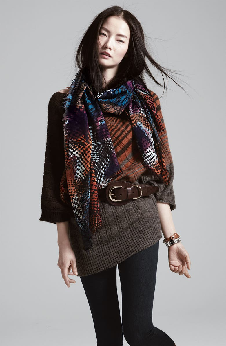 HALOGEN<SUP>®</SUP> Houndstooth Challis Scarf, Main, color, Green