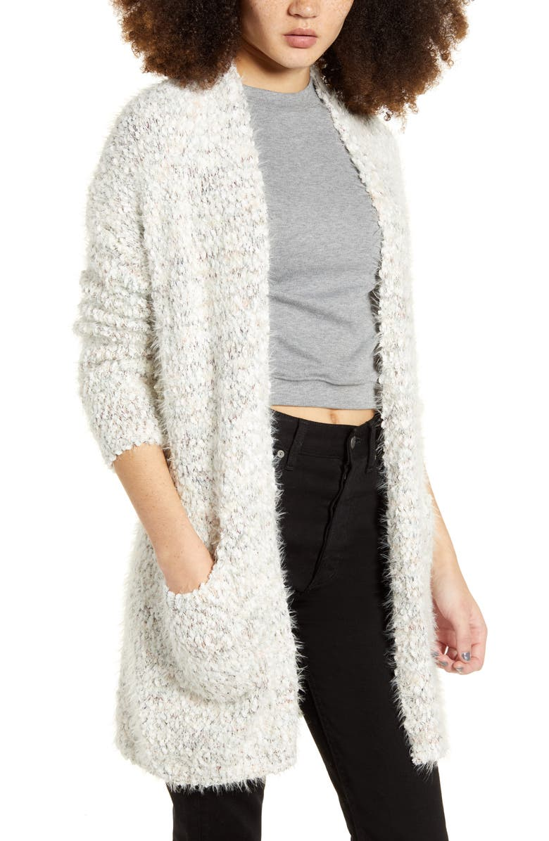 DREAMERS BY DEBUT Eyelash Chenille Cardigan, Main, color, GREY