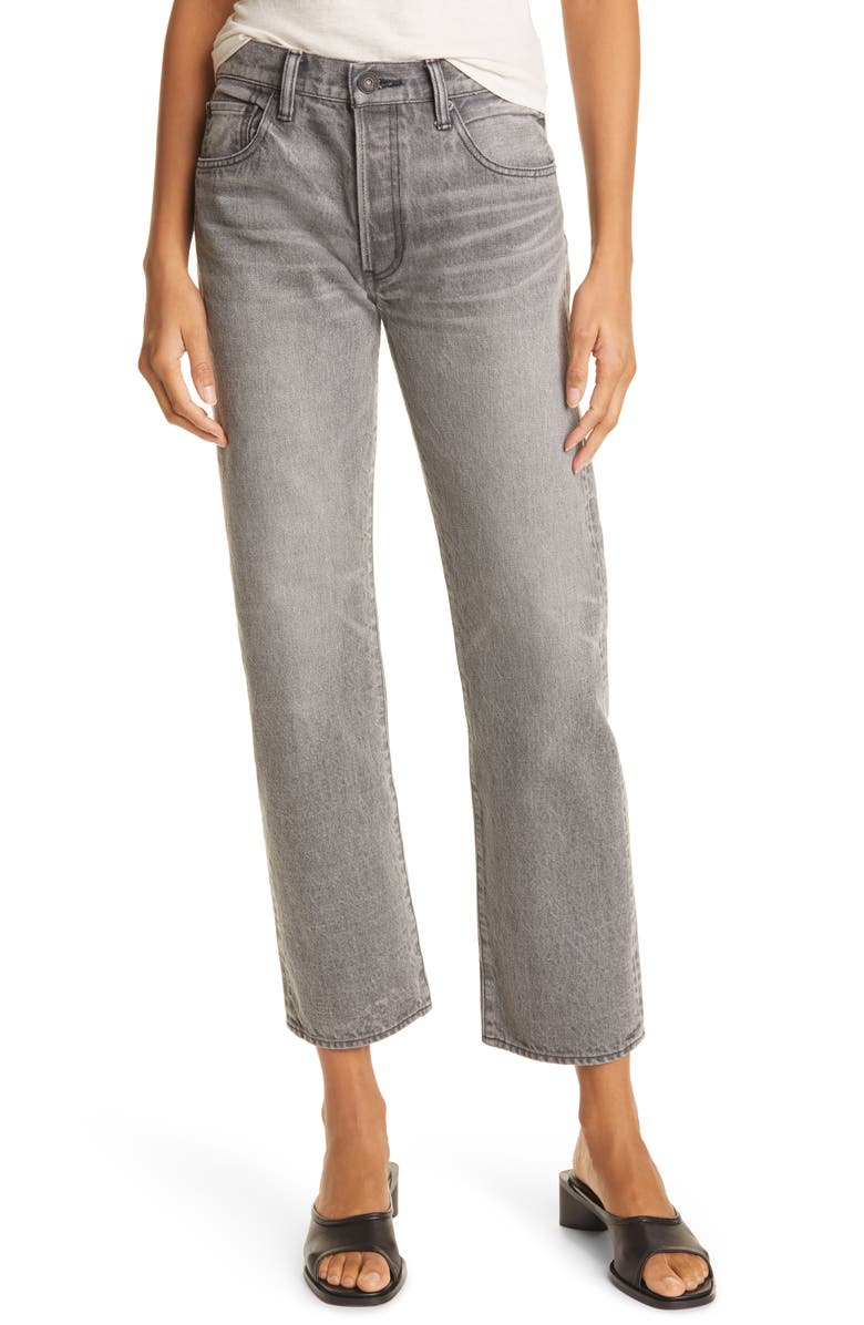 MOUSSY BoothBay Nonstretch Straight Leg Ankle Jeans, Main, color, BLACK