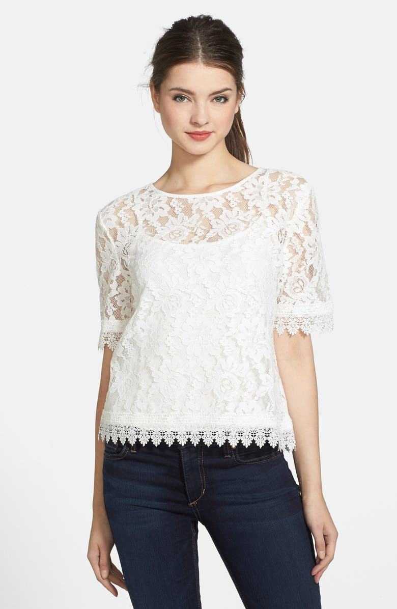 KUT FROM THE KLOTH 'Asriel' Button Back Lace Top, Main, color, 100