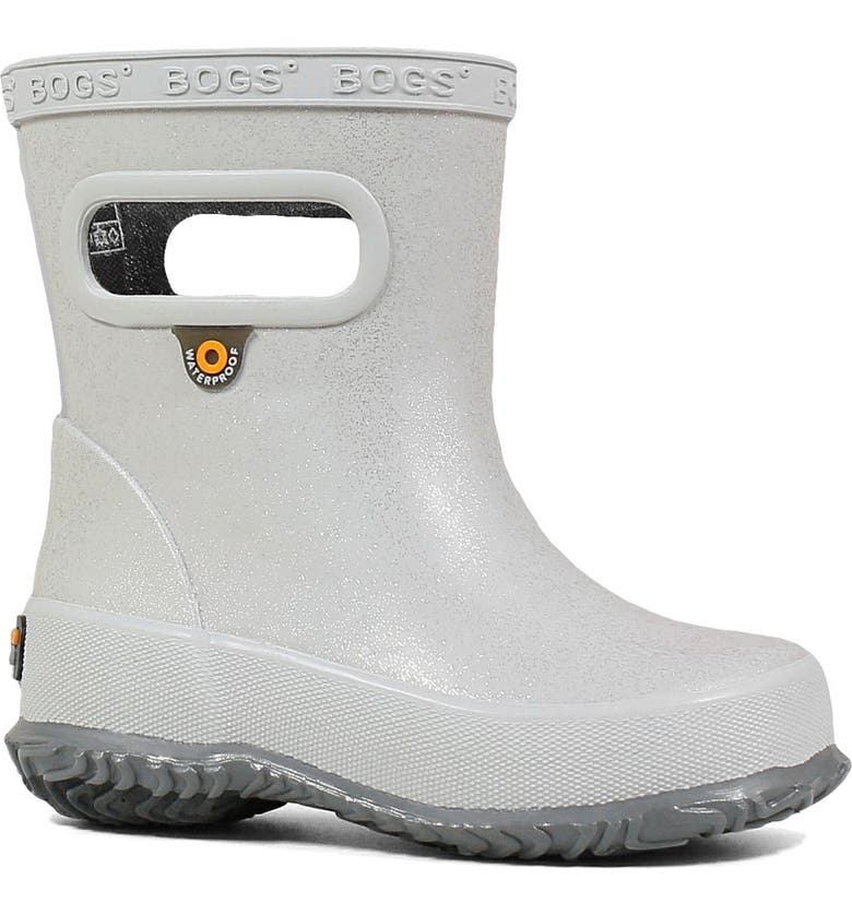 BOGS Glitter Skipper Waterproof Rain Boot, Main, color, SILVER