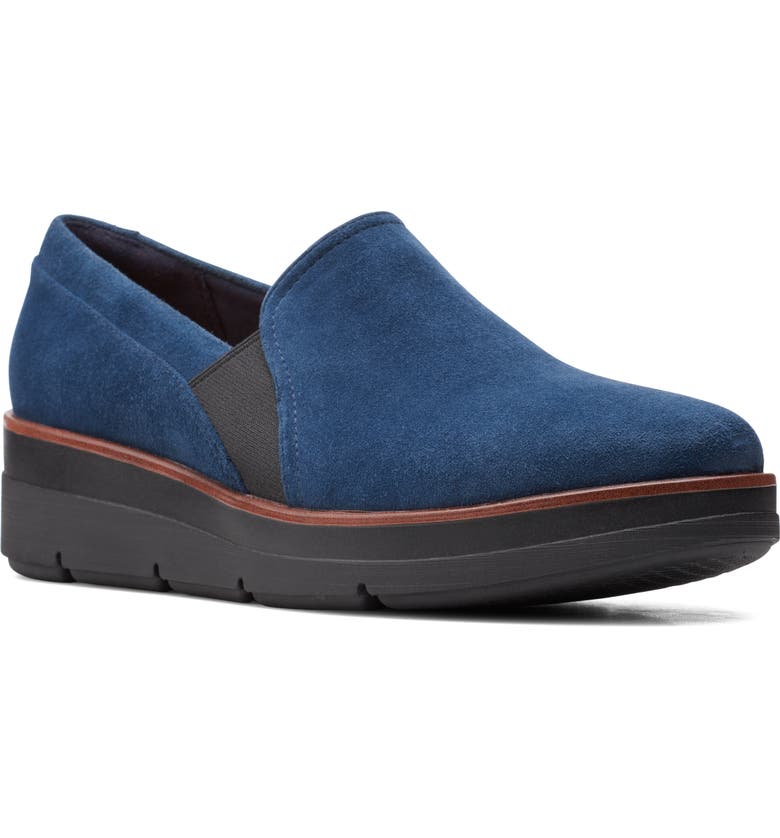 CLARKS<SUP>®</SUP> Shaylin Ave Flat, Main, color, NAVY SUEDE