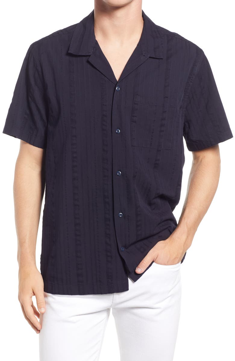 MADEWELL Easy Textured Stripe Camp Shirt, Main, color, TEXTURE STRIPE NIGHT VISION