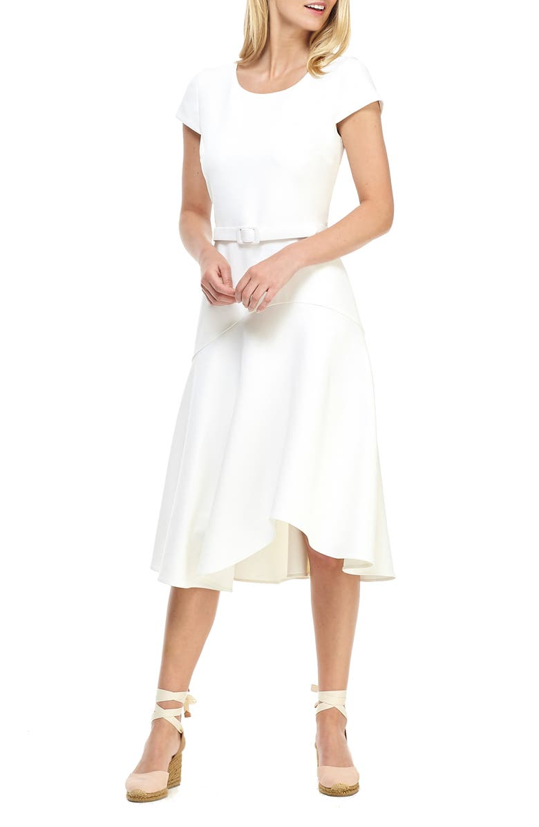 GAL MEETS GLAM COLLECTION Cecelia Belted Crepe Dress, Main, color, 100