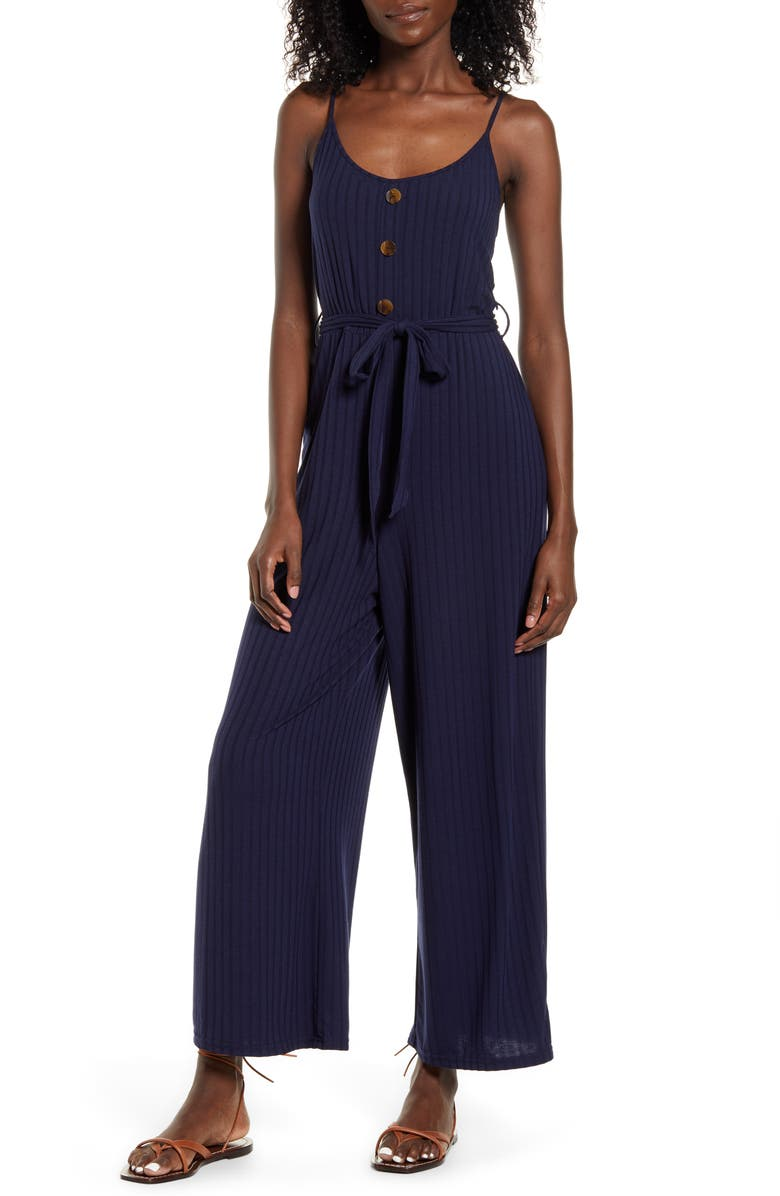 BAND OF GYPSIES Journey Rib Knit Belted Jumpsuit, Main, color, 411
