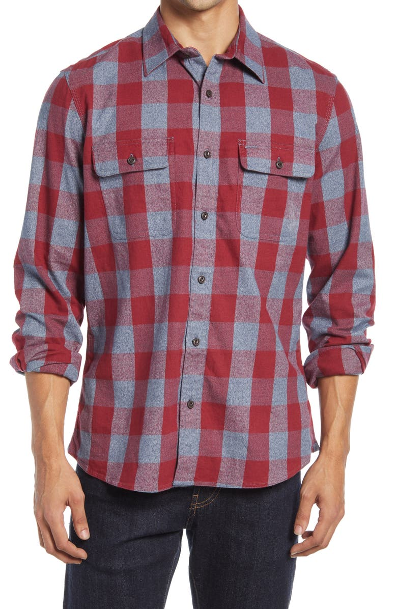 1901 Trim Fit Buffalo Check Stretch Flannel Button-Up Shirt, Main, color, RED GREY JASPE BUFFALO