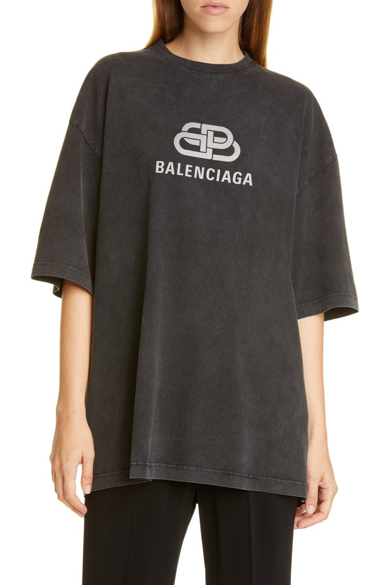 BALENCIAGA BB Logo Oversize Graphic Tee, Main, color, 001