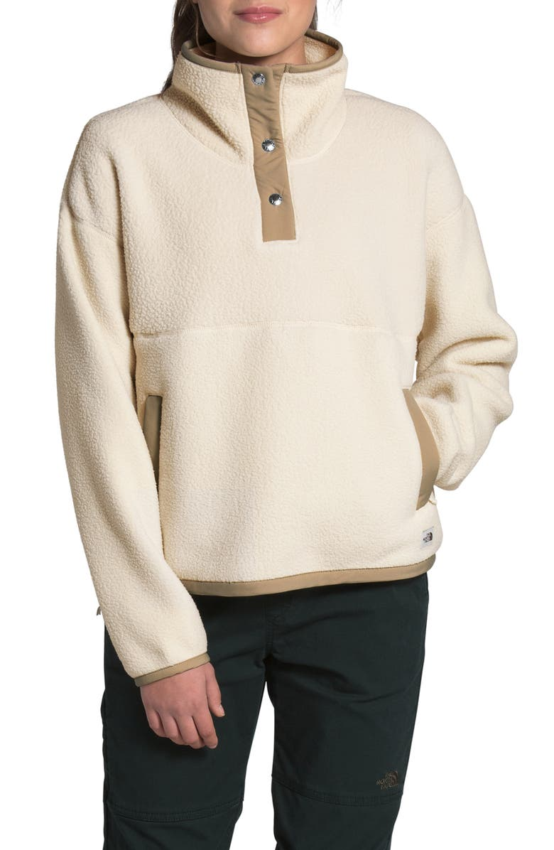 THE NORTH FACE Cragmont Fleece Pullover Jacket, Main, color, BLEACHED SAND/KHAKI