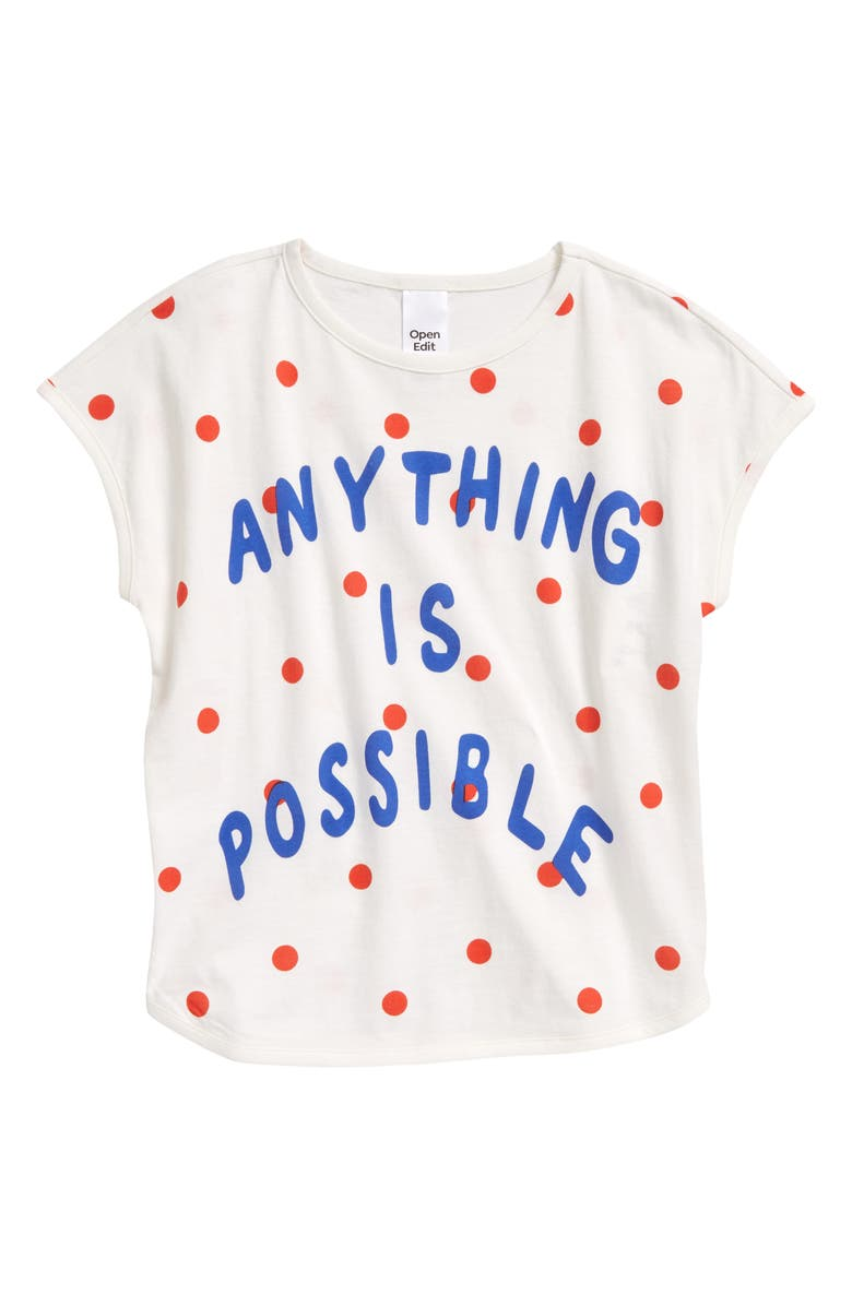 OPEN EDIT Kids' Organic Cotton Graphic Tee, Main, color, IVORY CLOUD POSSIBLE