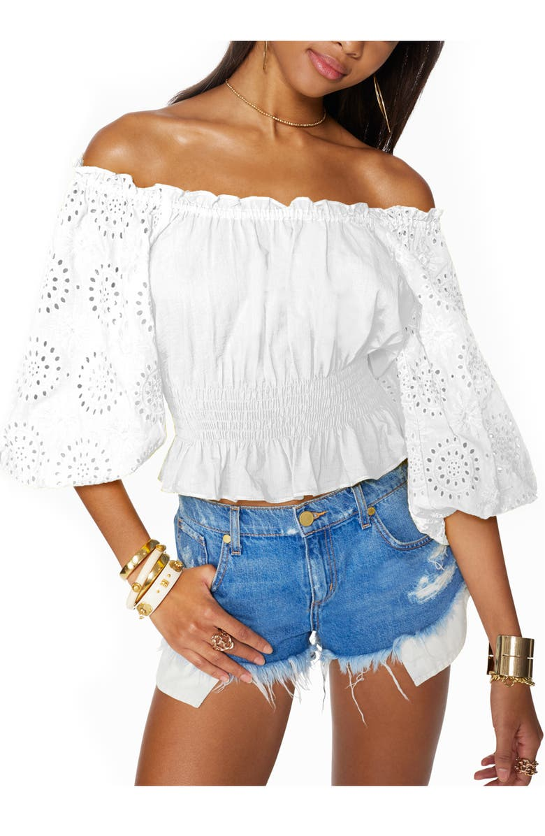 RAMY BROOK Trish Off the Shoulder Cotton Eyelet Blouse, Main, color, IVORY
