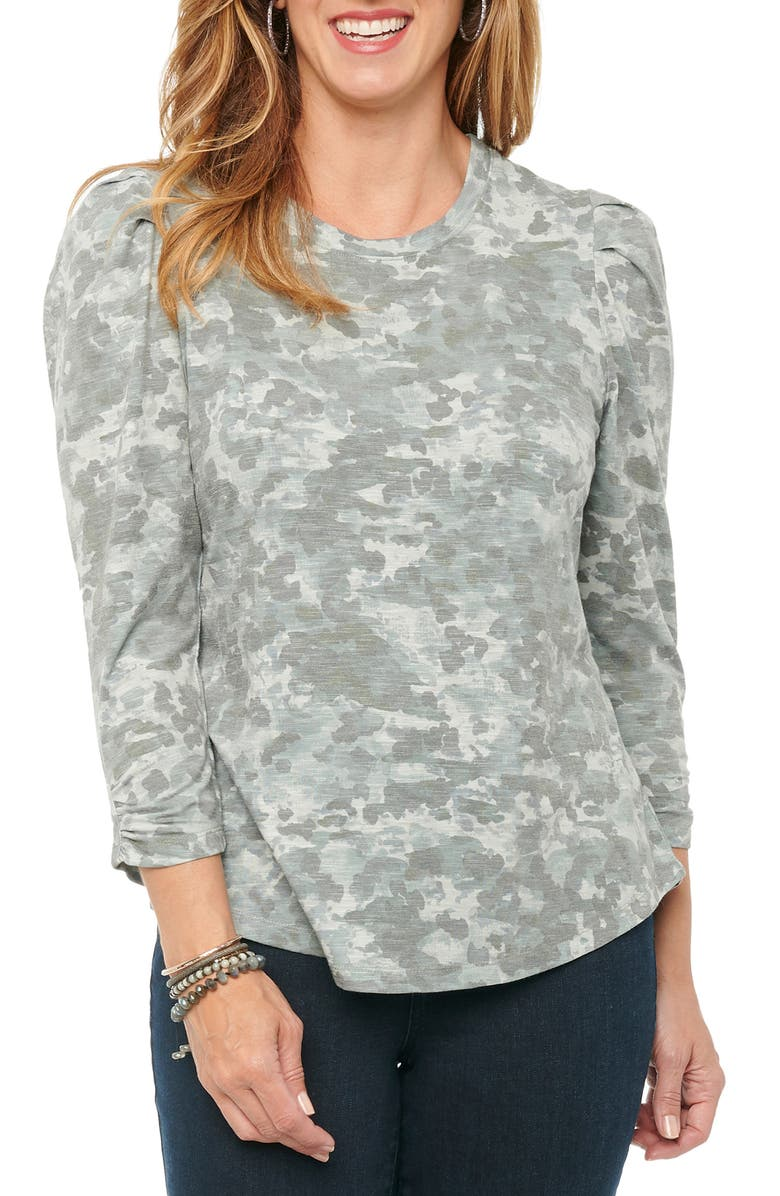 WIT & WISDOM Puff Sleeve Print Top, Main, color, OLIVE
