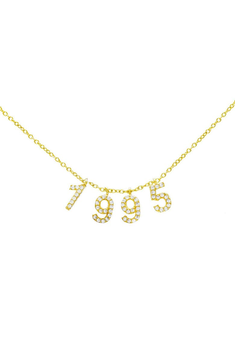 ADINA'S JEWELS Personalized Pavé Year Necklace, Main, color, 710