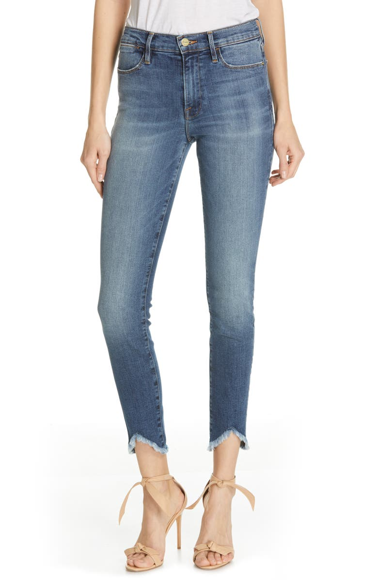 FRAME Le High Triangle Hem Ankle Skinny Jeans, Main, color, 420