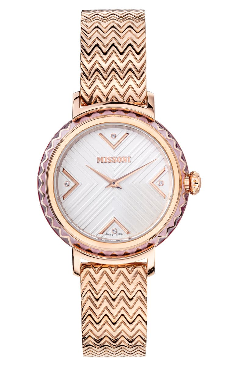 MISSONI Chevron Joy Diamond Bracelet Watch, 37mm, Main, color, ROSE GOLD / SILVER