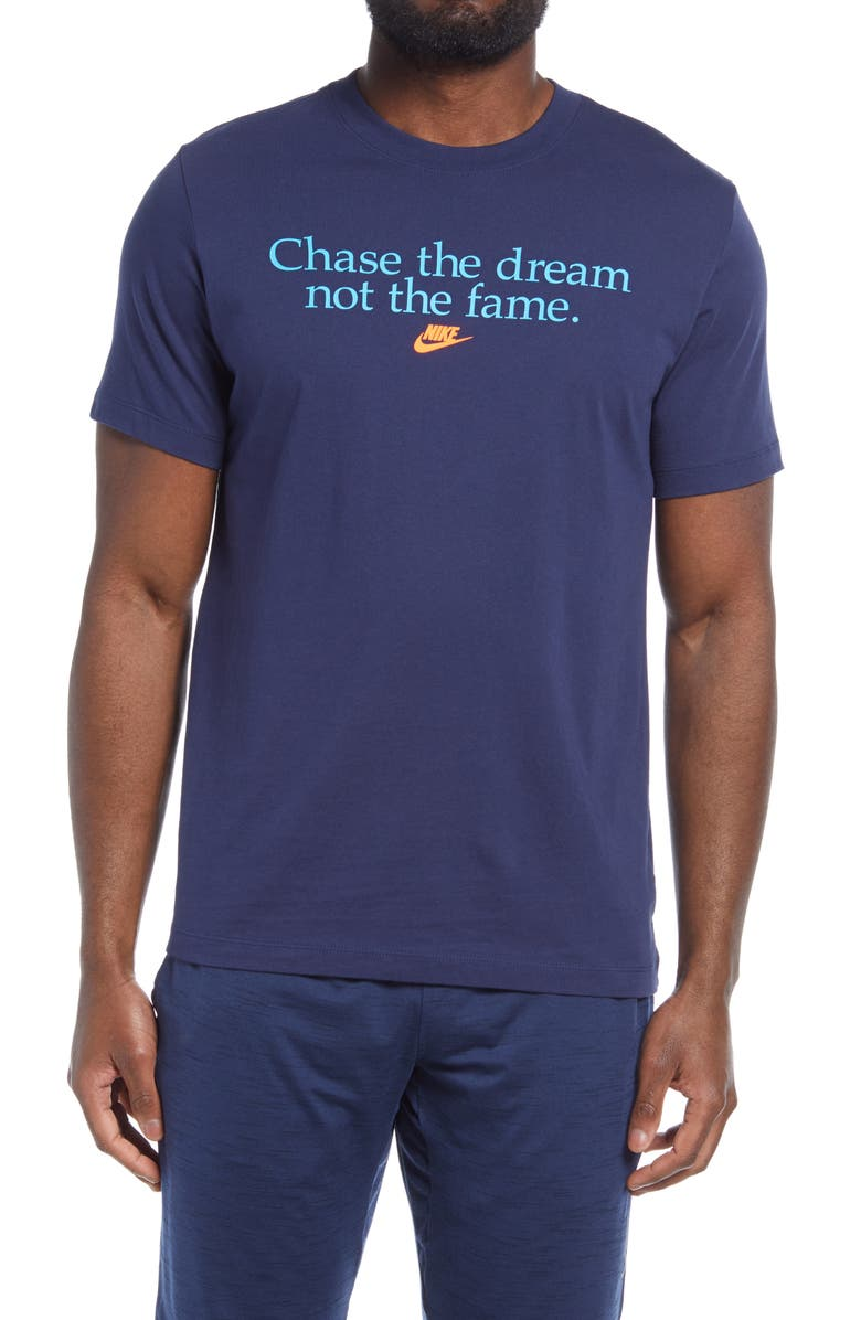 NIKE Chase the Dream Graphic Tee, Main, color, MIDNIGHT NAVY
