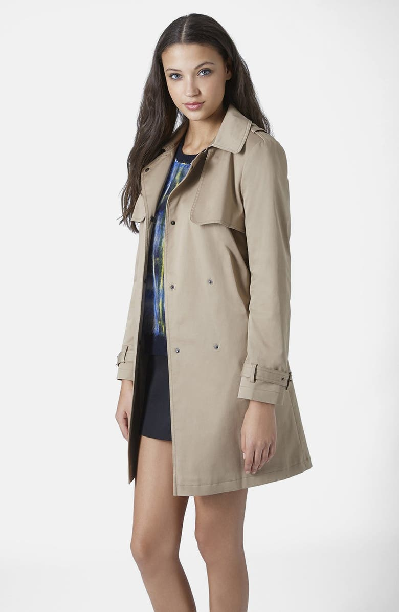 TOPSHOP Belted Trench Coat, Main, color, CAMEL
