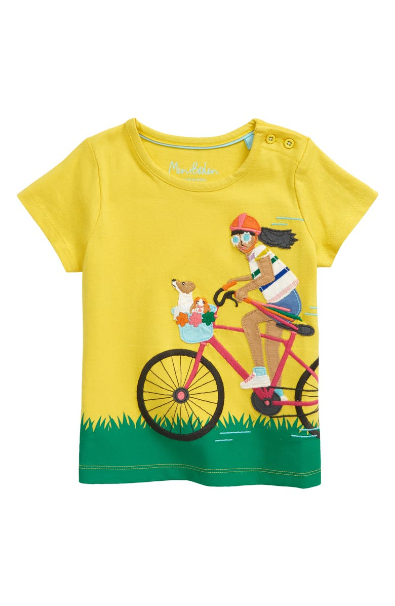 MINI BODEN Kids' Fun Girl Appliqué T-Shirt, Main, color, SWEETCORN YELLOW CYCLIST